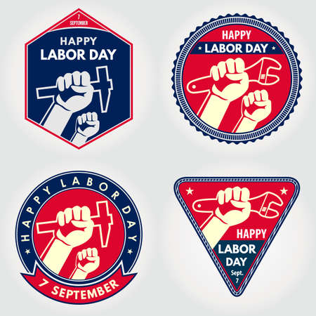 Set of Labor Day posters, badges or banners. Vector illustration