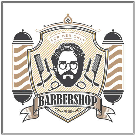 Barbershop logo, poster or banner design concept with barber pole. Vector illustration
