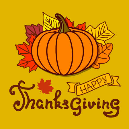 Happy Thanksgiving day poster template with pumpkin and autumn leaves. Vector illustration 矢量图像