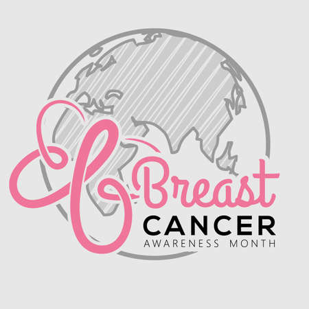 Breast Cancer Awareness Month poster or banner design template. Vector illustration 矢量图像