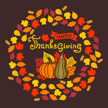 Happy Thanksgiving poster design template. Vector illustration