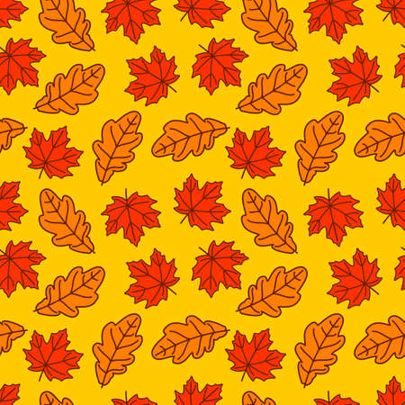Seamless pattern with autumn Oak and Maple leaves. Vector illustration 矢量图像