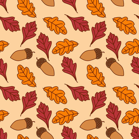 Seamless pattern with and acorns, autumn Oak and Hawthorn leaves. Vector illustration 矢量图像