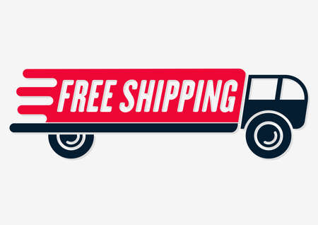 Free shipping icon. Delivery truck isolated on white background.