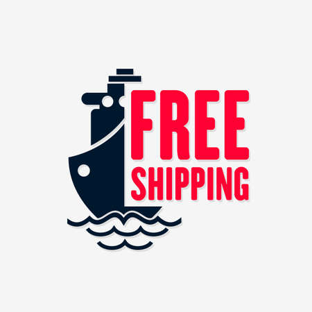 Free shipping icon. Sea Delivery isolated on white background. Vector illustration
