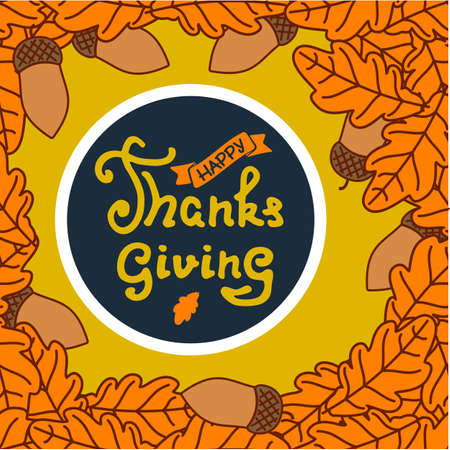 Happy Thanksgiving poster design template with oak leaf. Vector illustration