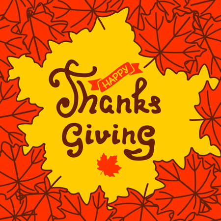 Happy Thanksgiving poster design template with maple leaf. Vector illustration 矢量图像