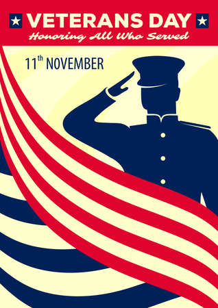 Veterans day poster template. Shield with US Army soldier saluting against USA Flag. Vector illustration