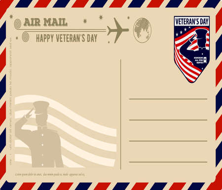 Veterans day vintage postcard design template. Vector illustration