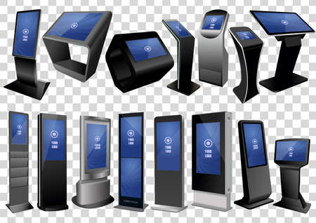Set of Promotional Interactive Information Kiosk, Advertising Display isolated on transparent background. 矢量图像