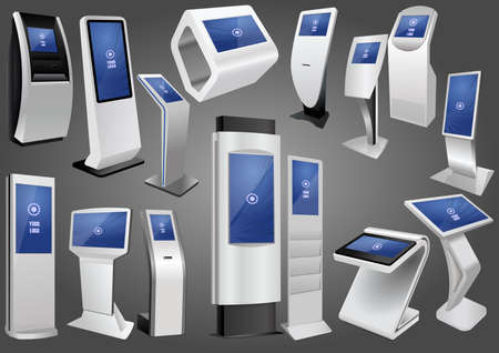 Set of Promotional Interactive Information Kiosk, Advertising Display, Terminal Stand. Mock Up Template 矢量图像