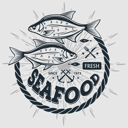 Seafood design concept with Bream fish. Vector illustration 矢量图像