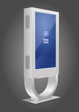 White Promotional Interactive Information Kiosk Terminal Stand Touch Screen Display. Mock Up Template 矢量图像
