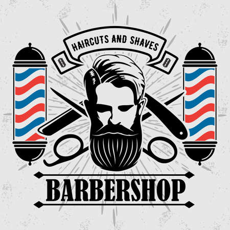 Barbershop logo, poster or banner design concept with barber pole and bearded men. Vector illustration.