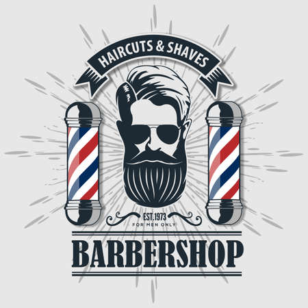 Barbershop logo, poster or banner design concept with barber pole and bearded men. Vector illustration