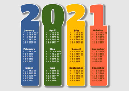Calendar template for 2021. Vector illustration
