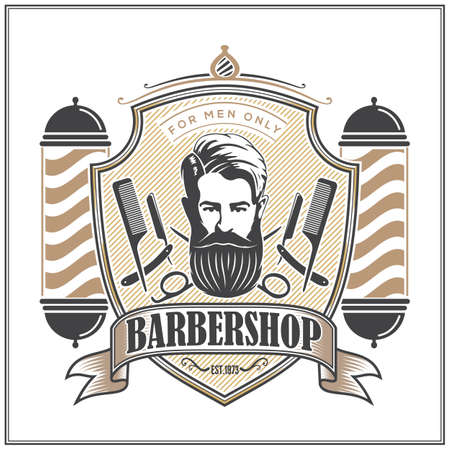 Barbershop , poster or banner design concept with barber pole and bearded men. Vector illustration 矢量图像