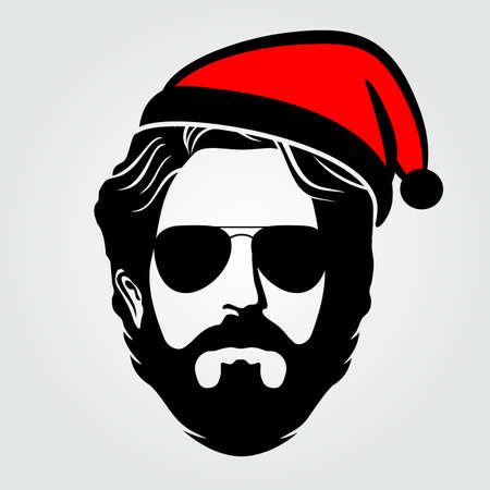 Hipster Santa Claus icon isolated. Vector illustration.