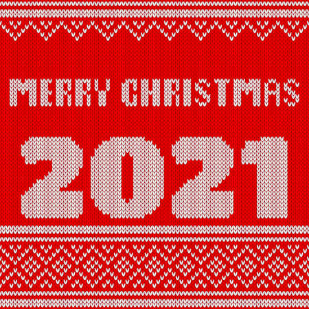 Merry Christmas and New Year Seamless Knitted Pattern with number 2021. Knitting Sweater Design. Wool Knitted Texture.
