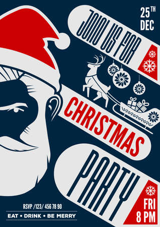 Christmas party poster, flyer or invitation design with Hipster Santa Claus. Vector illustration 矢量图像