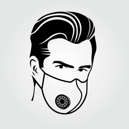 Man in face mask icon isolated. Vector illustration 矢量图像