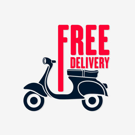 Food Delivery Motor Scooter icon isolated. Vector illustration