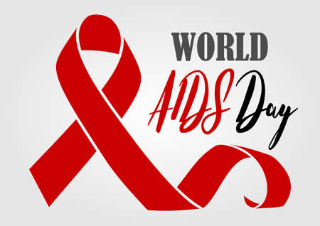 World Aids Day concept for poster, badge, emblem or logo. Vector illustration.