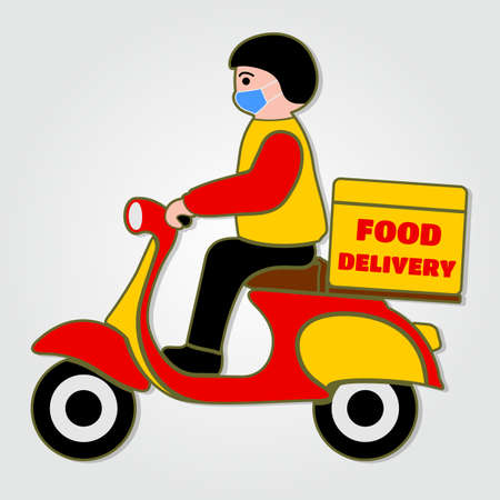 Delivery Boy in protective masks Ride Motor Scooter. Safe Food Delivery icon isolated. Vector illustration.