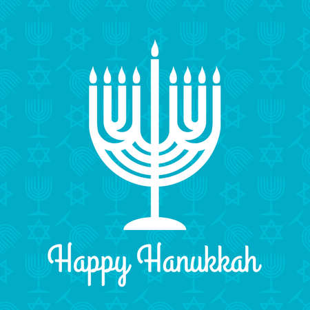 Hanukkah greeting card with Menorah. Vector illustration 矢量图像