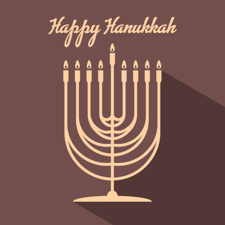 Happy Hanukkah poster with Menorah. Vector illustration 矢量图像