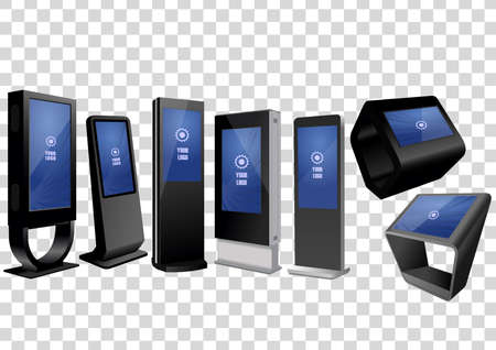 Set of Promotional Interactive Information Kiosks, Advertising Displays. Mock Up Template 矢量图像