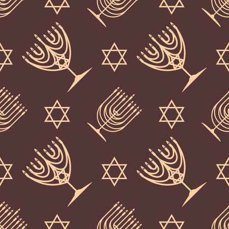 Hanukkah seamless pattern. Hanukkah Menorah and star of David. Vector illustration