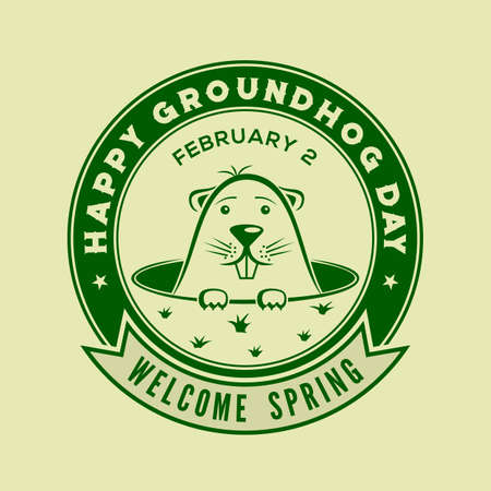 Happy Groundhog day card design with cute groundhog. Vector illustration Illustration
