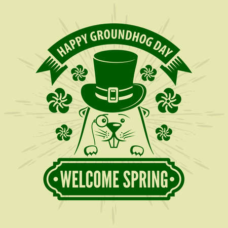 Happy Groundhog day card design with cute groundhog. Vector illustration 向量圖像