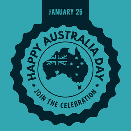 Happy Australia Day blue label, poster or banner design concept. Vector illustration