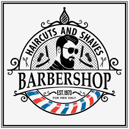 Barbershop poster, banner template with Bearded men. Vector illustration