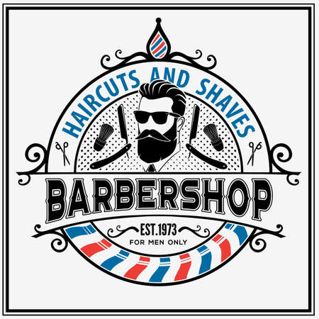 Barbershop poster, banner template with Bearded men.