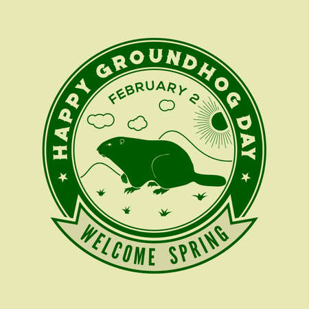 Groundhog Day Postcard. Welcome spring design template. Vector illustration