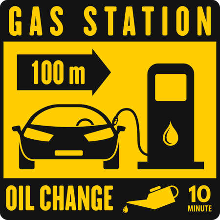 Gas Station, yellow road sign. Vector illustration 向量圖像