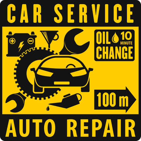 Car repair service road sign