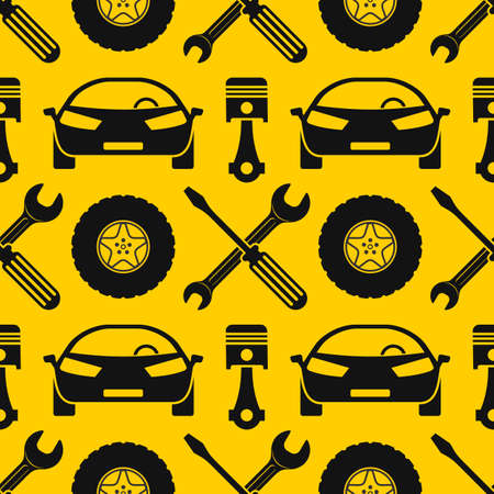 Car repair service seamless pattern.
