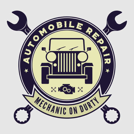 Car repair service, vintage  design concept with classic retro car. Vector illustration 向量圖像