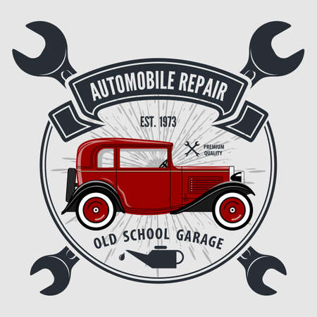 Car repair service, vintage  design concept with classic retro car. Vector illustration.