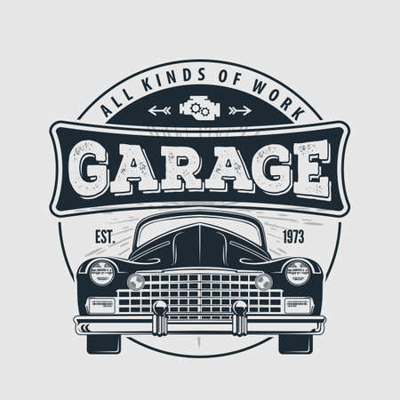 Car repair service, vintage Logo design concept with classic retro car. Vector illustration