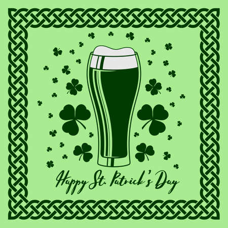 Saint Patrick s day celebration poster design template with Beer Glass