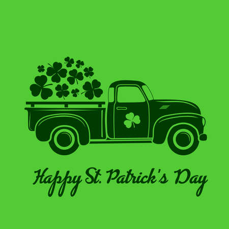 Saint Patricks day celebration design template with vintage truck and Shamrock leaves