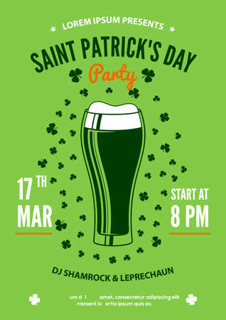 Saint Patricks Day party poster design template. Vector illustration