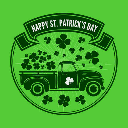 Saint Patricks day celebration design template with vintage truck and Shamrock leaves. Vector illustration