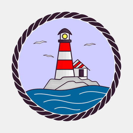 Lighthouse icon. Flat design style vector illustration