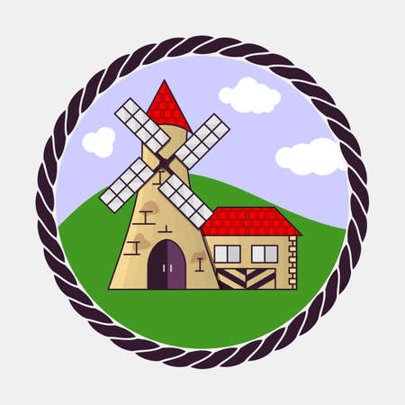 Windmill icon. Flat design style vector illustration